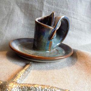 Ceramic Stoneware Glazed Candle Holder